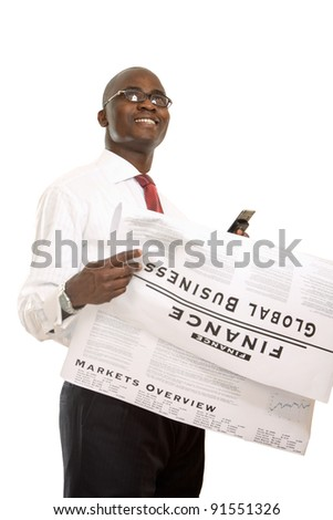 Portrait of an african american businessman reading newspaper , isolated on white background