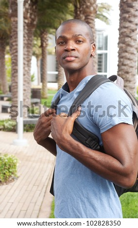 portrait of an African American college student on campus
