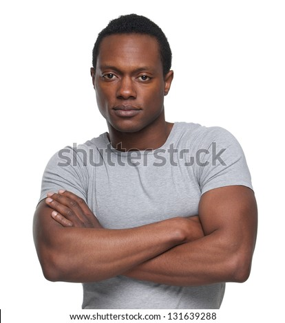 Portrait of an African American Man with arms crossed - stock photo