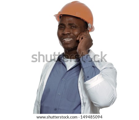 Portrait of an African American talking on the phone and holding a draft - stock photo