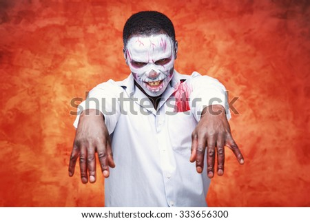 Portrait of an african businessman in the image of a skeleton or zombie. Festival, carnival, party, Halloween, male african zombies. African people. Voodoo people. Business man in the form of a zombie - stock photo