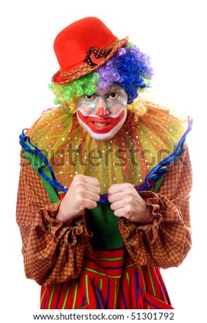 Portrait of an anger clown. Isolated on white - stock photo