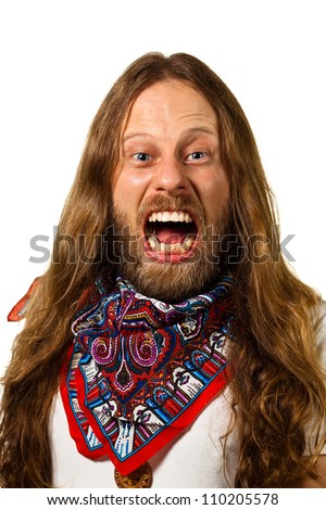 Portrait of an angry, screaming hippie man. Isolated on white. - stock photo