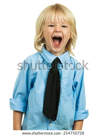 Portrait of an angry well-dressed boy wearing  a shirt and tie and yelling. Isolated on white. - stock photo