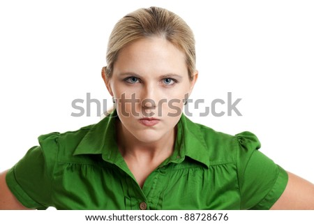 Portrait of an angry woman isolated on a white background - stock photo