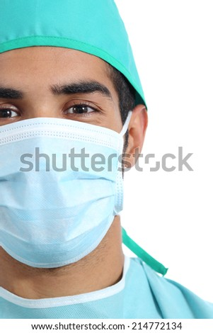 Portrait of an arab surgeon doctor face with mask isolated on a white background - stock photo