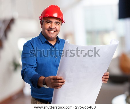 portrait of an architect thinking about his project - stock photo