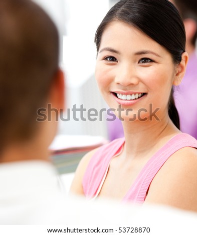 Portrait of an Asian businesswoman in a meeting in the office - stock photo