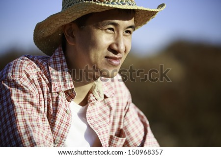 Portrait of an Asian young man being outdoor
