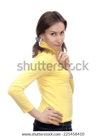 Portrait of an attractive beautiful pretty cute young brown haired caucasian thoughtful woman (lady, girl, female) in yellow clothes thinking and looking at the camera. Isolated on white background - stock photo
