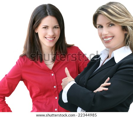 "Portrait of an attractive business, corporate female in a suit giving a ""thumbs up"". - stock photo"