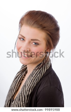 Portrait of an attractive business woman on a white background