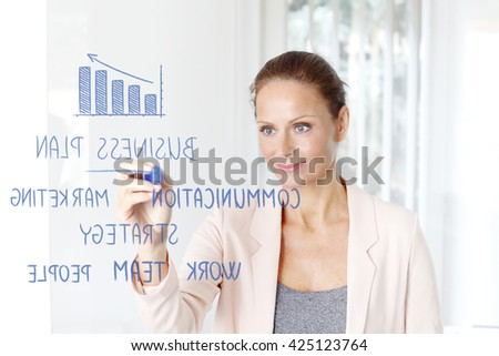 Portrait of an attractive executive businesswoman writing business plan to transparent wall at office while working.