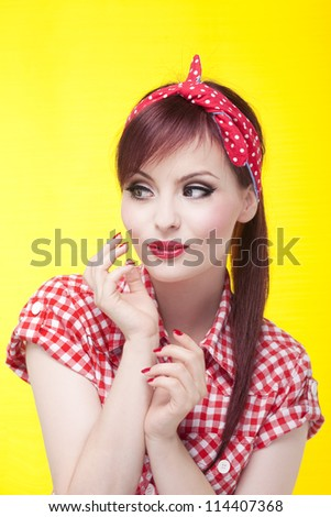 Portrait of an attractive girl looking left - stock photo