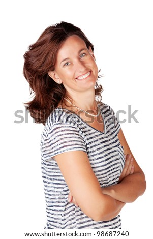 portrait of an attractive happy Caucasian woman in her 30s in a top with stripes on white background - stock photo