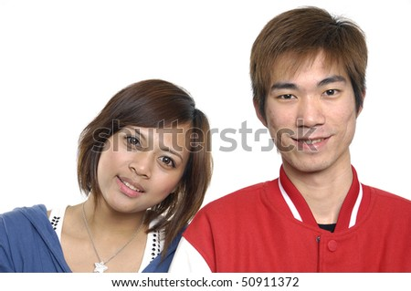 Portrait of an attractive happy young couple