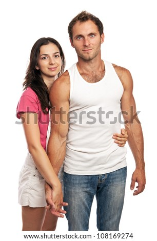 Portrait of an attractive loving couple looking at the camera