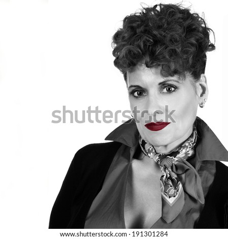 Portrait of an Attractive Mature Woman with Red LIps - stock photo