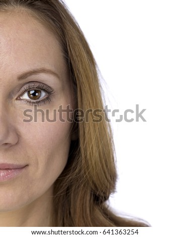 Portrait of an attractive middle aged caucasian woman; isolated on white background