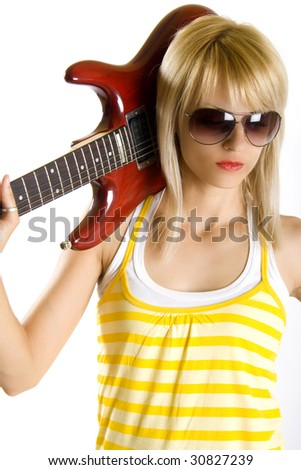 portrait of an attractive woman guitarist