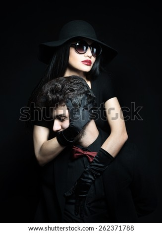 Portrait of an attractive young couple - stock photo