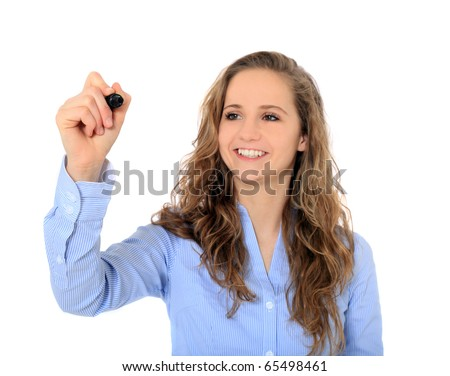 Portrait of an attractive young girl using a marker. All on white background. - stock photo