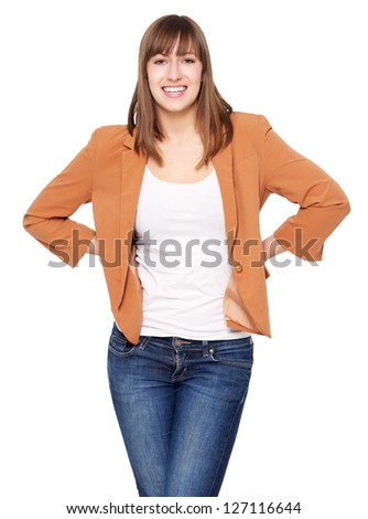 Portrait of an attractive young woman standing against white background - stock photo