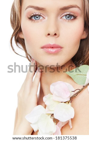 Portrait of an attractive young woman with fresh and sensual look - stock photo