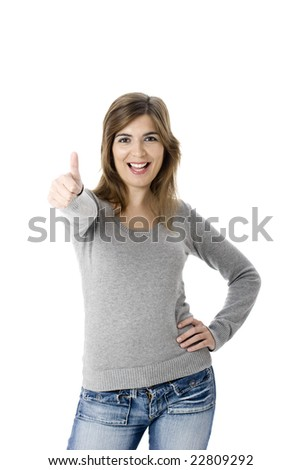 Portrait of an attractive young woman with thumbs up. - Isolated on white