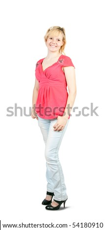 Portrait of an casual young girl in pink shirt over white