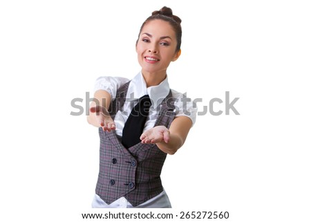 Portrait of an confident businesswoman. This photo has been produced with these professionals : make-up artist, hair dresser and stylist. - stock photo