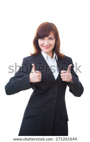 Portrait of an confident businesswoman. Thumbs Up.  - stock photo