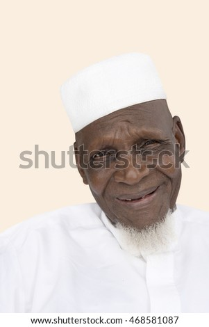 Portrait of an Eighty-year-old African man smiling