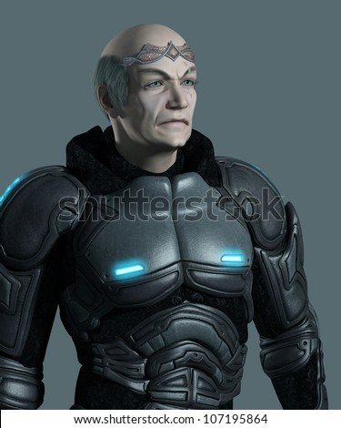 Portrait of an elderly futuristic space marine commander with armour and circlet, 3d digitally rendered illustration - stock photo