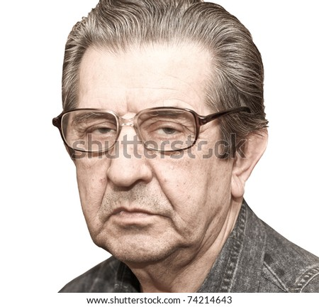 portrait of an elderly man looking seriously