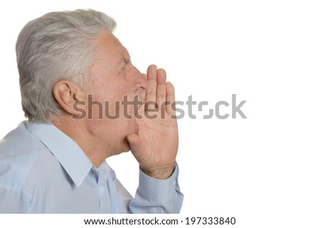 Portrait of an elderly man on a white background