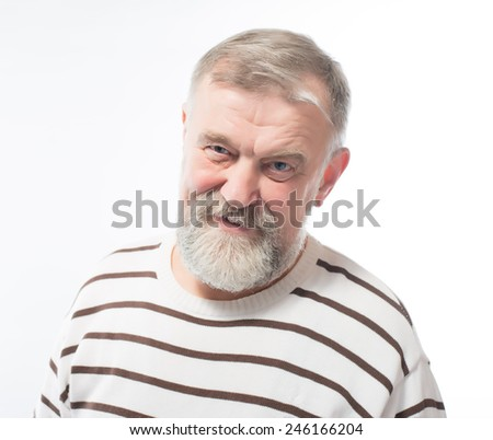 portrait of an elderly man with a beard - stock photo