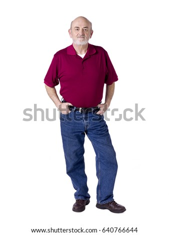 Portrait of an elderly man with a beard; isolated on white background