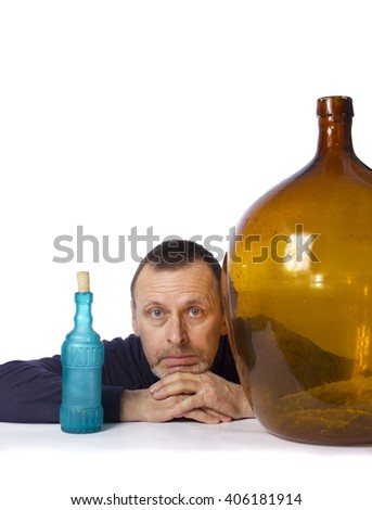 portrait of an elderly man with unusual glass vessels on a white background, isolated - stock photo