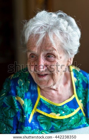 Portrait of an elderly woman. - stock photo