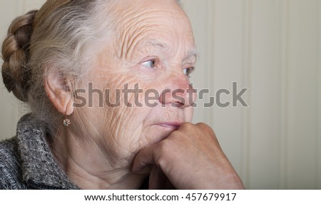 Portrait of an elderly woman.