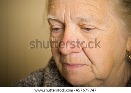 Portrait of an elderly woman. Closeup view. Toned.