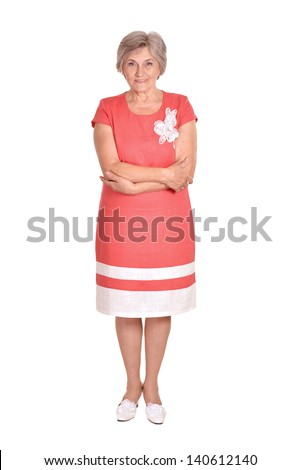 Portrait of an elderly woman in a red dress on a white background - stock photo