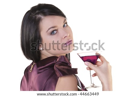 Portrait of an elegantly beautiful young woman with cocktail