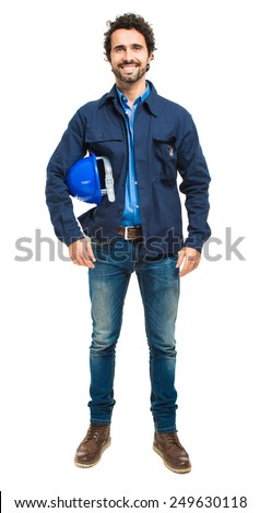 Portrait of an engineer isolated on white - stock photo