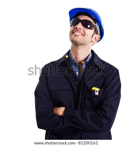 Portrait of an engineer looking up. Isolated on white - stock photo