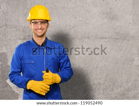 Portrait of an engineer, outdoor - stock photo