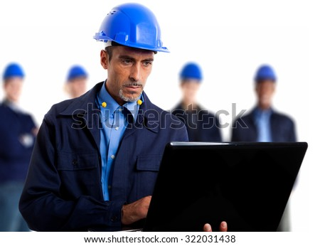 Portrait of an engineer using a laptop