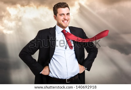 Portrait of an enlightened businessman - stock photo