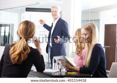 Portrait of an excited senior businessman gesturing while giving a presentation at business meeting. - stock photo